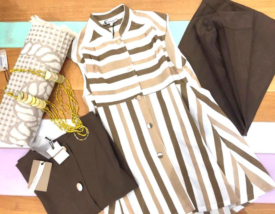 outift aprile blusa righe top pantalone viscosa